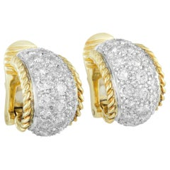 Tiffany & Co. Diamond Pave Platinum and Yellow Gold Small Hoop Clip-On Earrings