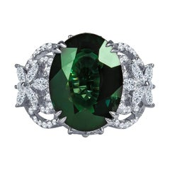 14.14 Carat Natural Green Sapphire Ring 'GRS' with 1.23 Carat Marquise Diamonds