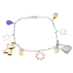 Multi-Gemstone 14 Karat White and Yellow Gold Charm Bracelet