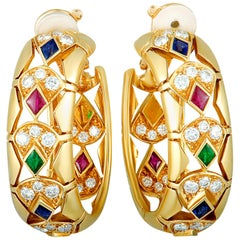 Cartier Diamond, Ruby, Emerald, and Sapphire Yellow Gold Oval Clip-On Earrings