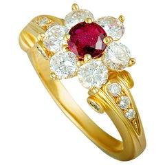Korloff Diamond and Ruby Yellow Gold Flower Ring