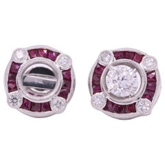 Ruby Diamond Bezel Set Earrings 1.72 Carat Platinum