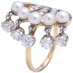 Seed Pearl and Diamond Dangle Ring