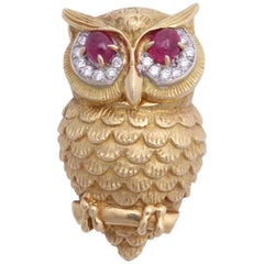 Cartier Ruby and Diamond Owl Brooch