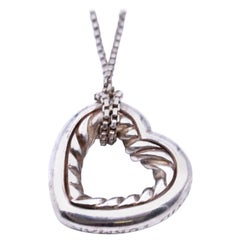 David Yurman Sterling Silver Open Heart Cable Necklace
