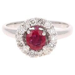 1.23 Carat Ruby Diamond 14 Karat White Gold Ring