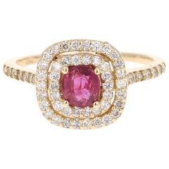 1.33 Carat Ruby Diamond 14 Karat Yellow Gold Ring