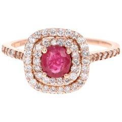 1.28 Carat Ruby Diamond 14 Karat Rose Gold Ring