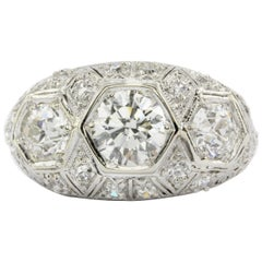 Platinum Art Deco 1 Carat Centre and Two .45 Carat Diamond Ring, circa 1930s