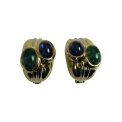 18 Karat Yellow Gold Earclips Set With Cabochon Sapphires and Emeralds