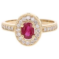 1.01 Carat Ruby Diamond 14 Karat Yellow Gold Ring