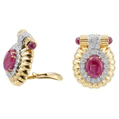 David Webb 18 Karat Yellow Gold and Platinum Ruby and Diamond Earrings