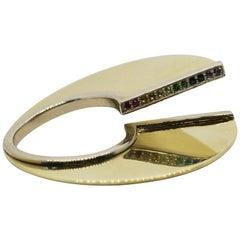 18 Karat Split Circle Rainbow Ring