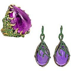 Wendy Brandes 52+ Carat Amethyst and Tsavorite Gold Ring and Gold Earring Suite