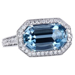Leon Mege Art Deco Style East-West Natural Aquamarine  Diamond Platinum Ring