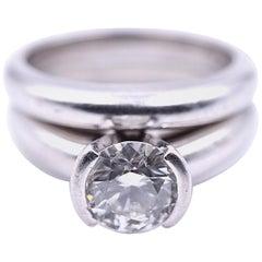 1.20 Carat Round Brilliant Diamond Platinum Solitaire Wedding Set