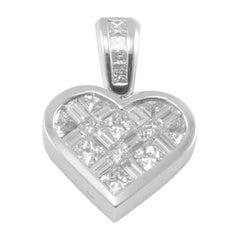 2.00 Carat Total Princess Cut and Baguette Diamond Heart Shaped Pendant
