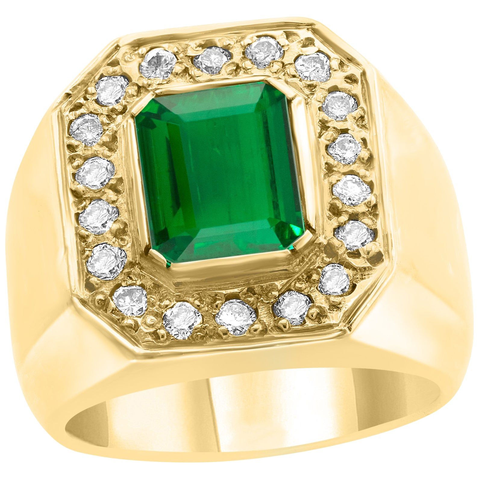 AGL Certified 2.75 Carat  Emerald Cut Colombian Emerald  Diamond 18 K Men Ring