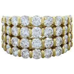 Gemlok Four-Row Diamond Gold Band Ring