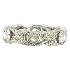 Vintage Style 18 Karat WG Eternity Band with Rose Cut Diamonds 0.60 Carat