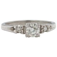Vintage Diamond Engagement Ring 0.45 Carat I-VS1, circa 1940s