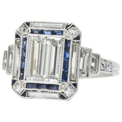 Art Deco 2.90 Carat Diamond Sapphire Platinum Engagement Ring