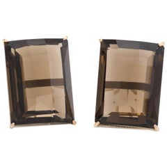 Vintage Large Smoky Quartz Earrings 14 Karat Gold Square Statement Jewelry