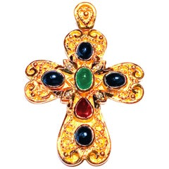 Georgios Collection 18 Karat Gold Diamond, Emerald, Sapphire and Ruby Cross