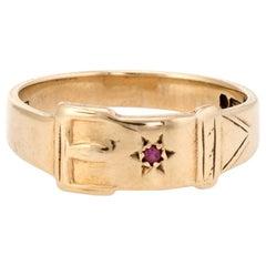 Vintage Buckle Ring Ruby 9 Karat Gold Estate Jewelry Alternative Wedding Band