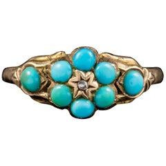 Antique Georgian Turquoise Diamond Ring Dated Birmingham, 1819
