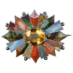 Antique Victorian Scottish Brooch Agate Citrine Silver, circa 1860