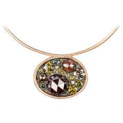 Joke Quick 4,49 carat brilliant- and rose-cut diamond pendant with neclace.