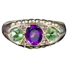 Antique Victorian Ring Suffragette Amethyst Peridot Diamond 18 Carat Dated 1912