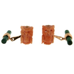 Coral Owls 18 Karat Yellow Gold Malachite Cufflinks