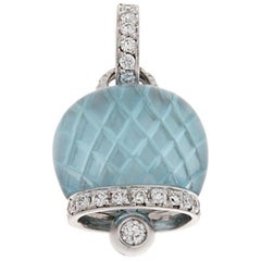 Chantecler Bell Charm in White Gold, Diamonds Pavé and Blue Topaz