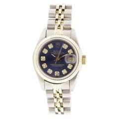 Pre owned Womens Rolex Datejust Steel & Gold 69173 Blue Diamond Dial 18k Bezel