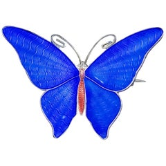 Antique Edwardian Blue Enamel Butterfly Brooch Silver, circa 1915