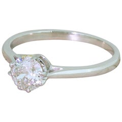 Art Deco 0.45 Carat Old European Cut Diamond Platinum Engagement Ring