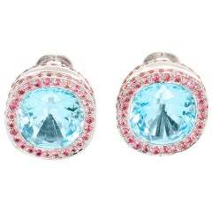 18 Karat White Gold Blue Topaz and Pink Sapphire Earrings