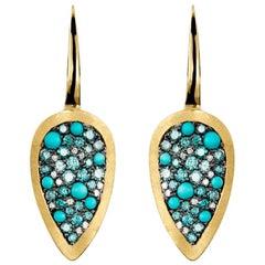 Joke Quick 18K Yellow Gold Turquoise, 0,36 Carat Blue & White Diamond Earrings.