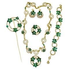 Diamond Emerald 18 Karat Yellow Gold 6-Pieces Set by Bulgari