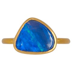 Scrives Irregular Blue Green Opal Cabochon 22 Karat Gold Ring
