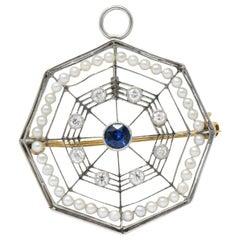 Edwardian Spider Web Diamond Sapphire Seed Pearl Platinum Pendant Brooch