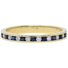Modern 0.41 Carat Diamond Sapphire 14 Karat Yellow Gold Band Stack Ring