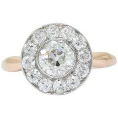 Edwardian 1.35 Carat Diamond Platinum-Topped 14 Karat Rose Gold Engagement Ring