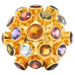 "1960s Citrine Aquamarine Garnet Amethyst 18 Karat Gold ""Sputnik"" Cocktail Ring"