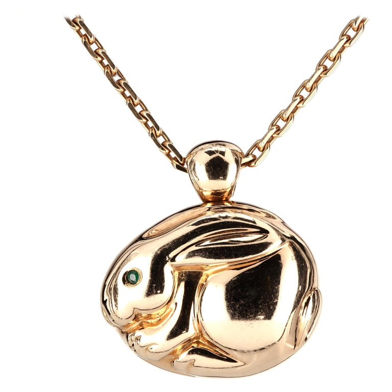 Van Cleef & Arpels VCA Rabbit Pendant and Necklace 18 Karat Gold For Sale