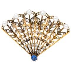 Victorian 1.75 Carat Diamond Sapphire Pearl 18 Karat Gold Fan Brooch