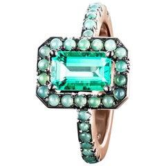 Joke Quick 18K Rose Gold 1,5 Carat Emerald Entourage Ring