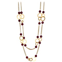 18 Karat Solid Yellow Gold Cranberry Agate Chain Necklace